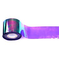 1roll 5 centímetros * 100m holográfica brilhante laser transferência unha folha de etiqueta vidro quebrado da arte do prego de DIY