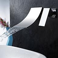 Moderni Kolmiosainen Vesiputous with  Keraaminen venttiili Yksi kahva kaksi reikää for  Kromi , Kylpyhuone Sink hana