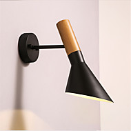 북부 유럽 스타일 나뭇결 벽 조명 금속 거실 램프 그늘 조절 가능