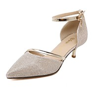 Women's Shoes Low Heel Heels / Ankle Strap / Pointed Toe Sandals Party & Evening / Dress / Casual Silver / Gold