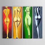 Ручная роспись Телесный Картины маслом,Modern / Европейский стиль 5 панелей Холст Hang-роспись маслом For Украшение дома