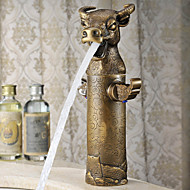 Cow Head Style Top Grade Luxurious Antique Two Handles Three Holes Bathroom Sink Faucet