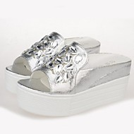 Women's Summer Creepers / Open Toe PU Outdoor Platform White / Silver