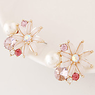 Earring Flower Stud Earrings Jewelry Women Fashion Party / Daily / Casual 1 pair Gold / Beige