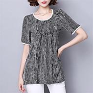 Mulheres Camiseta Casual Plus Sizes Verão,Listrado Azul / Preto Poliéster Decote Redondo Manga Curta Média