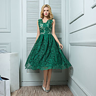 Cocktail Party Dress-Pearl Pink / Dark Green Ball Gown V-neck Knee-length Lace