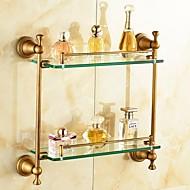 Antique Brass-Plated Brass Material Bathroom Shelves