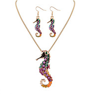 Women European Style Fashion Colorful Cute Hippocampus Necklace Earring Set