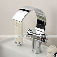 Contemporary Centerset Single Handle Two Holes in Chrome Bathroom Sink Faucet