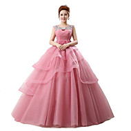 Formal Evening Dress Ball Gown Scoop Chapel Train Tulle / Stretch Satin with Crystal Detailing