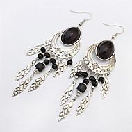 Women European Style Fashion Ethnic Vintage Metal Oval Tassel Drop Earrings