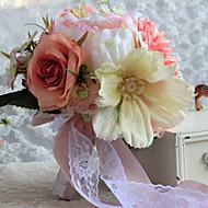 """Bouquets de Noiva Forma-Livre Lírios / Peônias Buquês Casamento Cetim 8.27""""(Aprox.21cm)"""