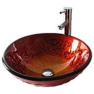 Moderní T19*Φ425*H150MM Kulatý dřez Materiál je Tvrzené skloKoupelnový dřez / kohoutek do koupelny / Montážní kroužek do koupelny /