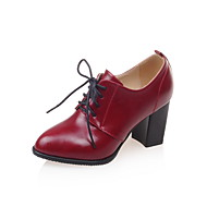 Women's Oxfords Spring Fall Comfort Ankle Strap PU Office & Career Casual Athletic Chunky Heel Lace-up White Black Red Cycling Walking