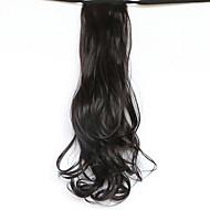 """50 ס""""מ אורך שחור סוג החגורה החדשה קוקו מזויפים שיער שבצבוץ פאה ארוך ומתולתל (99j צבע)"""
