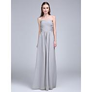 Lanting Bride® Longueur Sol Mousseline de soie Robe de Demoiselle d'Honneur  Trapèze Sans Bretelles / Coeur avec Croisé