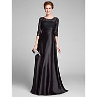 Lanting Bride A-line Plus Size / Petite Mother of the Bride Dress - See Through Sweep / Brush Train Half Sleeve Lace / Stretch Satin with