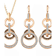 Fashion Circle Jewelry Sets Party Gold Plated Pendant Necklace Drop Earrings Set For Women Gifts