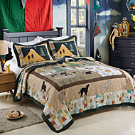 100% Cotton  Patchwork Christmas Tree 3 pieces Quilted Bedspread set , King Size