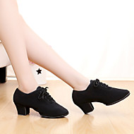 Customizable Women's Dance Shoes Satin Satin Latin / Dance Sneakers Heels Chunky Heel Indoor / Performance Black