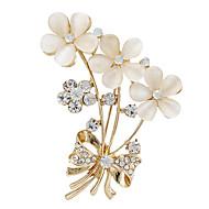 mulheres moda strass opala de flor de ouro broches Fow casamento