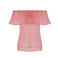 Enfärgad Kortärmad T-shirt Kvinnors Båthals Bomull