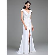 Lanting Bride® Sheath / Column Wedding Dress Sweep / Brush Train V-neck Satin Chiffon with Beading / Side-Draped / Split