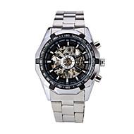 WINNER Heren Polshorloge mechanische horloges Automatisch opwindmechanisme Hol Gegraveerd Roestvrij staal Band Luxueus Zilver Wit Zwart
