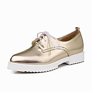 Women's Shoes PU Flat Heel Comfort / Ankle Strap / Pointed Toe Oxfords Outdoor / Office & Career Blue / Pink / Silver