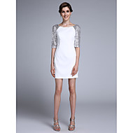 Sheath / Column Mother of the Bride Dress Short / Mini Half Sleeve Chiffon with Sequins
