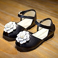 Girl's Sandals Summer Open Toe / Sandals / Comfort Leather Casual Flat Heel Flower Black / Red / White