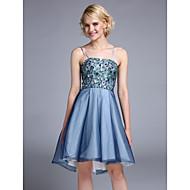 Cocktailfest Dress - Glitrende A-linje Spagettistropper Asymmetrisk Tyll / Paljetter med Blonder / Paljetter