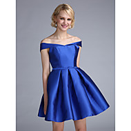 Cocktail Party Dress Ball Gown Off-the-shoulder Short / Mini Satin with Sash / Ribbon