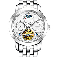 Carnival Heren Skeleton horloge mechanische horloges Automatisch opwindmechanisme Hol Gegraveerd s Nachts oplichtend MaanfaseRoestvrij