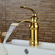 High Quality Contemporary Ti-PVD Waterfall Bathroom Sink Faucet