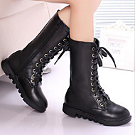 Girl's Boots Fall / Winter Comfort Leather Casual Flat Heel Others Black / Brown / White
