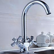 スイベルスパウト洗面化粧台シンク混合栓二つのハンドルの台所の蛇口浴室の洗面台の蛇口