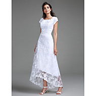 Lanting 신부 시스 / 칼럼 웨딩 드레스 비대칭 스쿱 레이스 와 레이스