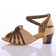 Sapatos de Dança(Preto / Dourado) -Feminino-Personalizável-Latina