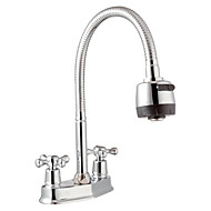 Contemporary Deck Mounted Rotatable with  Ceramic Valve Two Handles Two Holes Chrome Bathroom Sink Faucet
