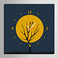 E-HOME® A Bird On The Branch Under The Moon Clock in Canvas 1pcs