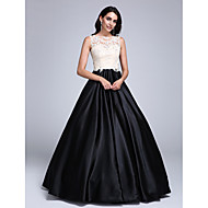 TS Couture Prom Dress - Color Block Ball Gown Jewel Floor-length Lace Stretch Satin with Appliques Beading