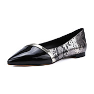 Women's Shoes Cowhide Summer / Pointed Toe Flats Office & Career / Casual Flat Heel Split Joint Silver / Gold