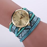 Women's Bohemian Style Snake Leopard Leather Band Gold Case Analog Quartz Bracelet Fashion Watch