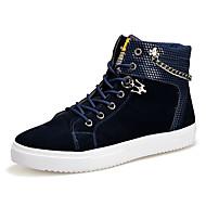 Boty-Plátno-Pohodlné Kombat boty-Pánské-Černá Modrá-Běžné Atletika-Plochá podrážka