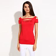 Women's Solid Blue/Red/Black T-shirt, Sexy U Neck/Off Shoulder Short Sleeve Holes Front