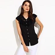 Mulheres Blusa Casual Simples Verão,Sólido Branco / Preto Decote V Sem Manga Média
