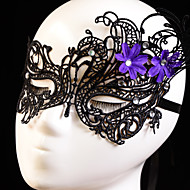 Black Sexy Lady Lace Mask Cutout Eye Masquerade Party Fancy Dress Costume with Purple Flower