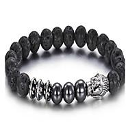 kalen®2016 nye ankomst smykker mænds rustfrit stål buddha og lava beaded armbånd
