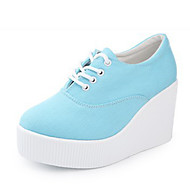 2016 New Arrivals Women's Shoes Best Seller Canvas Wedge Heel Platform/Creepers/Round Toe Fashion Sneakers Outdoor/Casual Blue/White